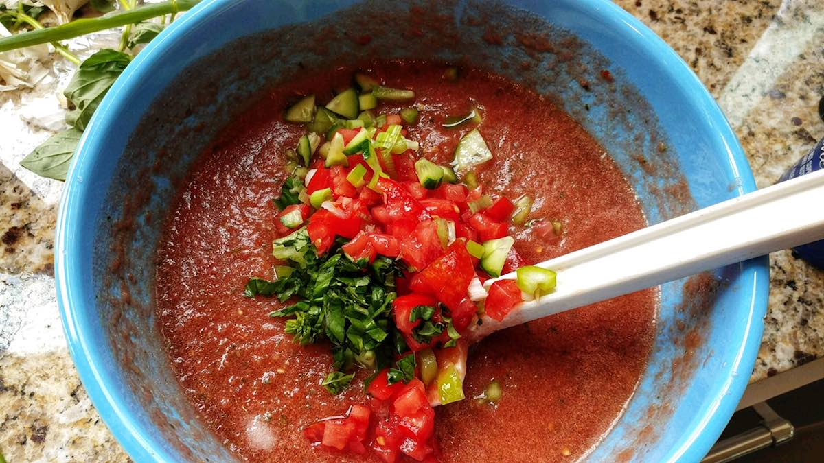 last minute garden gazpacho, weight watchers freestyle