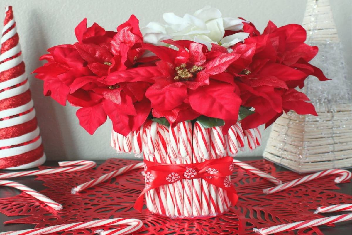 Christmas Table Centerpieces - Peppermint candy canes and poinsetta