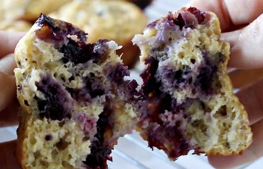 a gooey miracle blueberry muffin