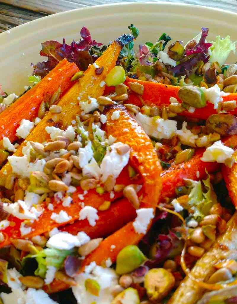 A close up of the Farm Salad with Roasted Carrots and Homemade Citrus Dressing
