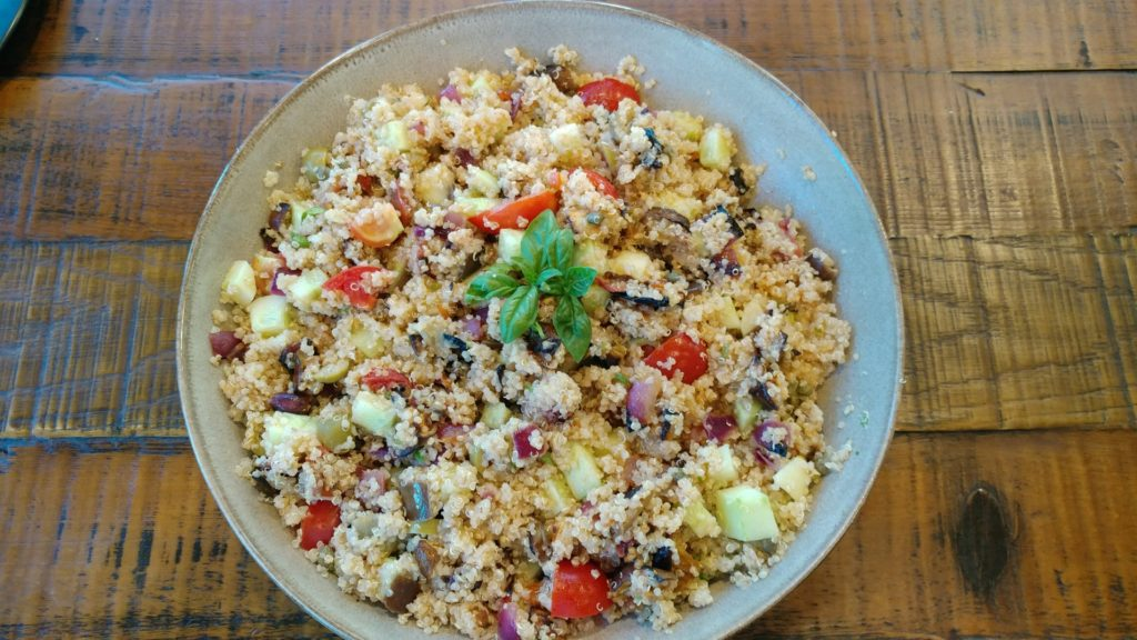 summer quinoa salad vegetables eggplant cucumber tomatoes