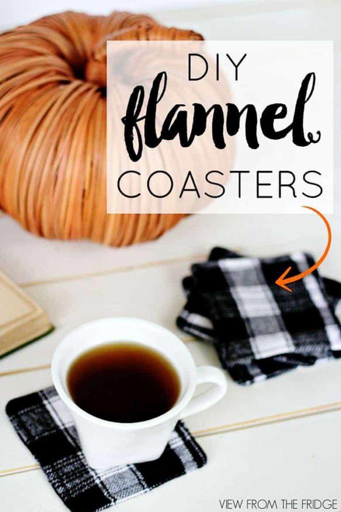 homemade coasters, fall decor ideas, flannel coaster