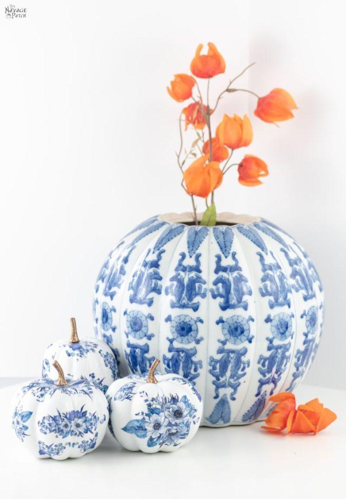 blue white porcelain pumpkins, blue and white fall decor, pumpkin crafts, fall craft ideas