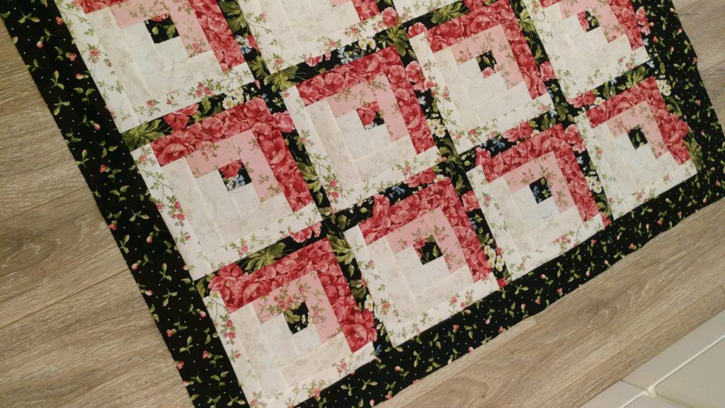 black white pink log cabin quilt baby quilt