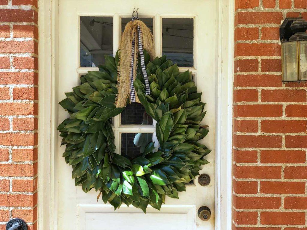 homemade magnolia wreath, fall wreath ideas, fall craft ideas, fall decor