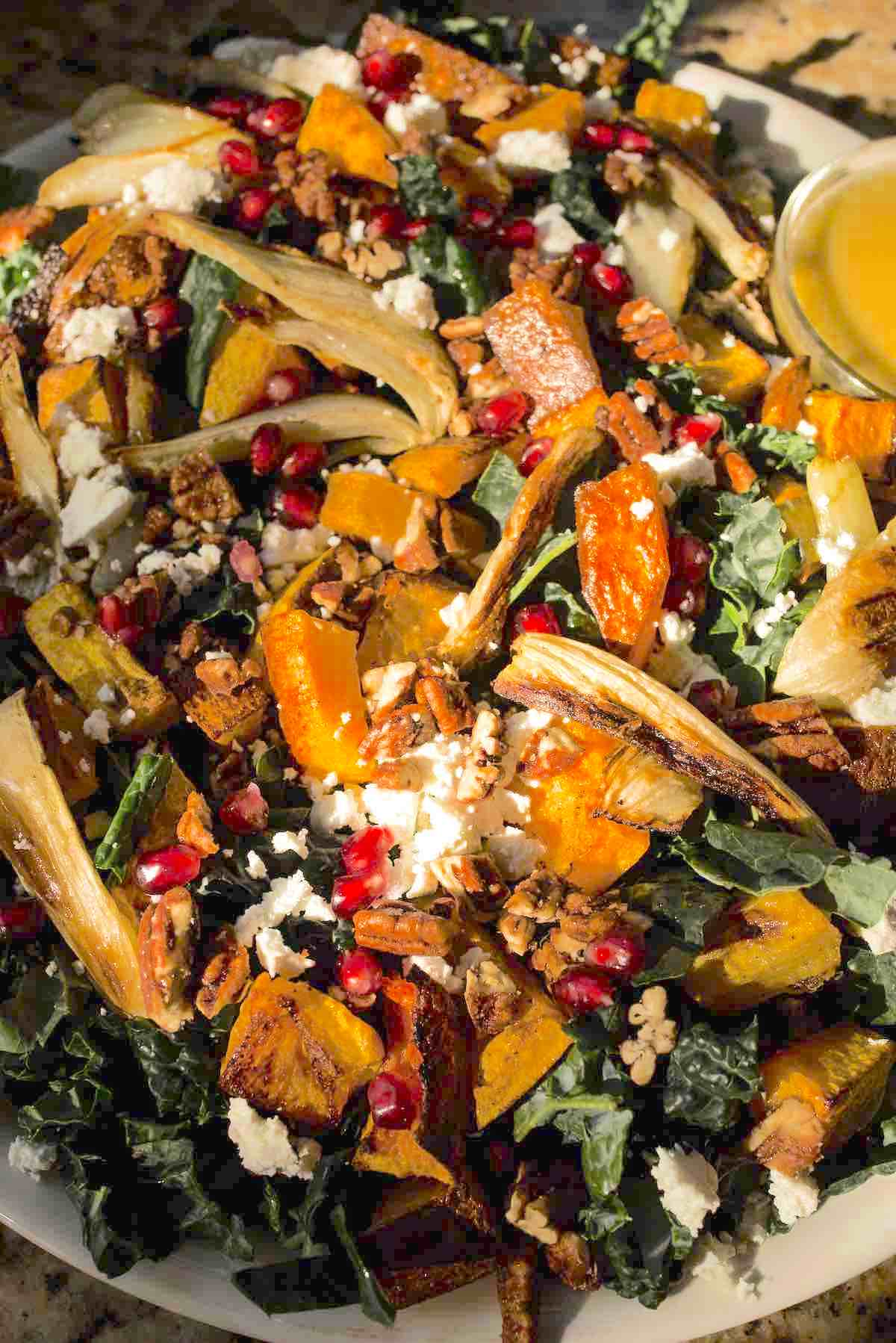 A close-up of the finished kale salad recipe