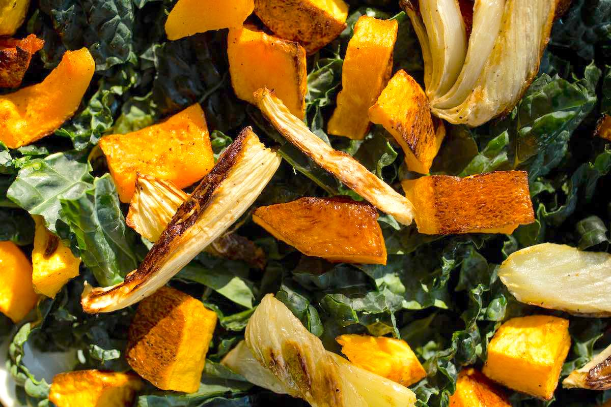 The roasted squash and fennel atop the kale bed