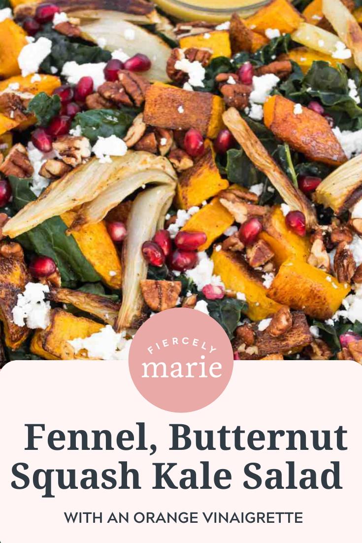 Kale Salad Recipe with Fennel, Butternut Squash and Orange Vinaigrette