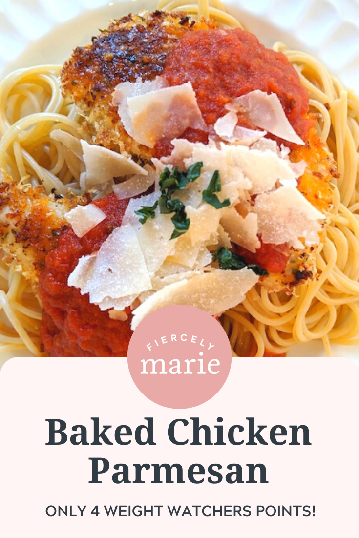 4 WW Points Chicken Parmesan: My craving for Italian doesn\'t mesh with my Weight Watchers plan. Luckily, I\'ve cracked the code with my lighter -but cheesy and crunchy- chicken parmesan.