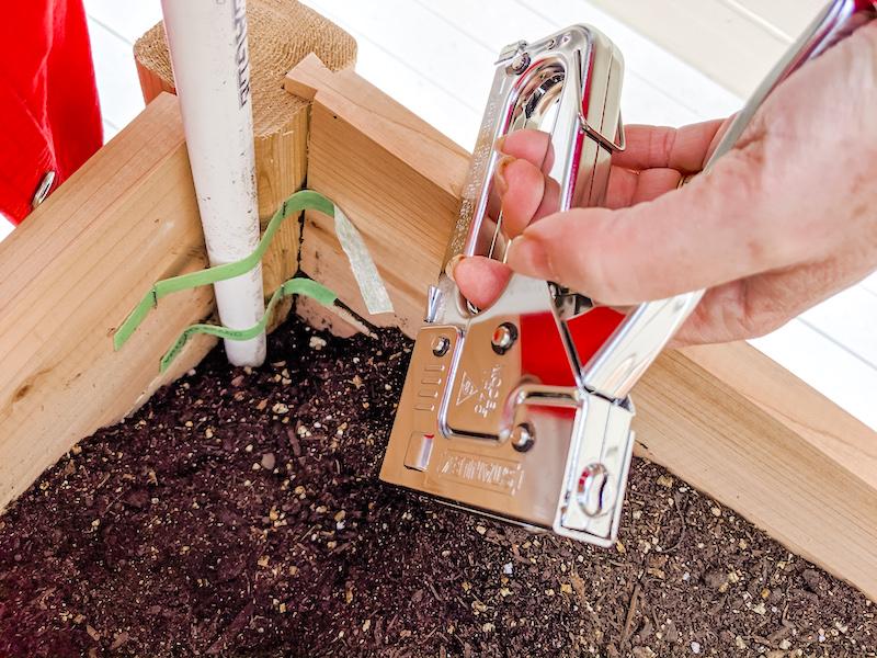 Small Space Vegetable Garden - Stapling Velcro