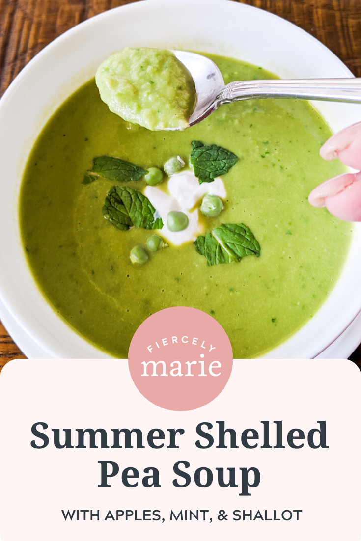 Fresh Pea Soup with Apple and Mint