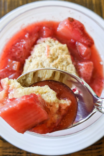 Healthier Desserts - Strawberry rhubarb cobbler