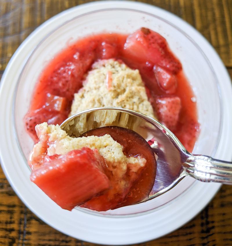 Healthier Dessert - Strawberry rhubarb cobbler