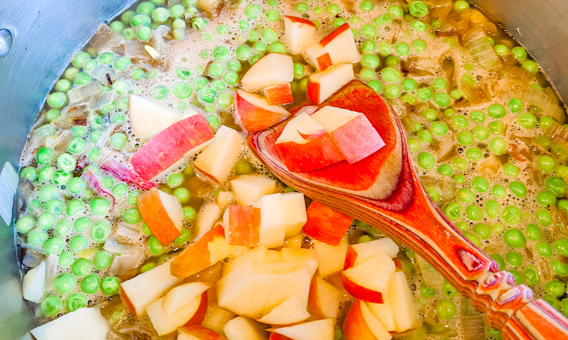 Adding Apples and Shallots to the Pea Soup