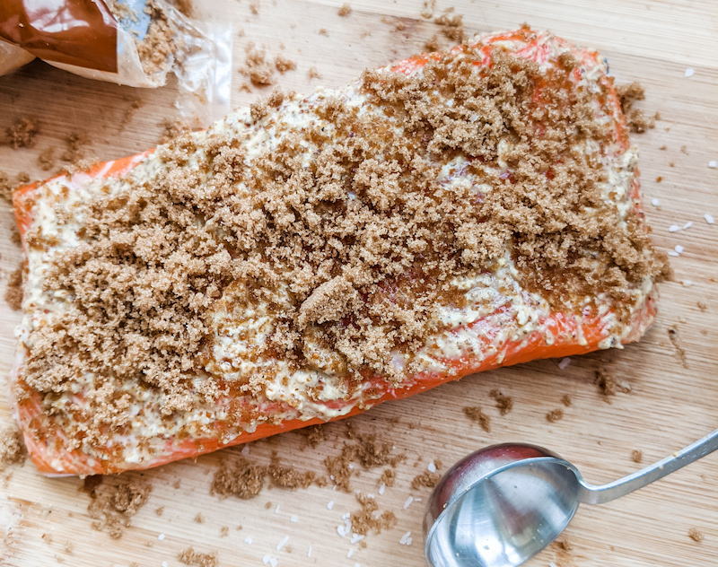 Prepping the Cedar Plank Salmon