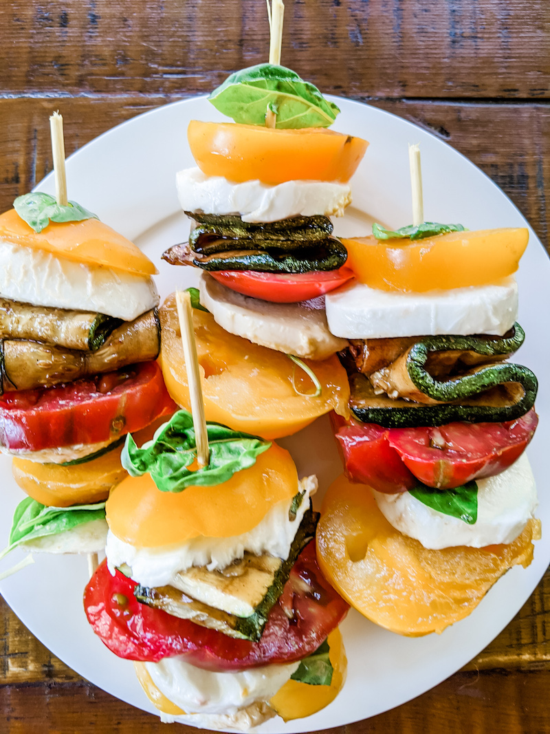 Finished Caprese Stacks with Grilled Zucchini