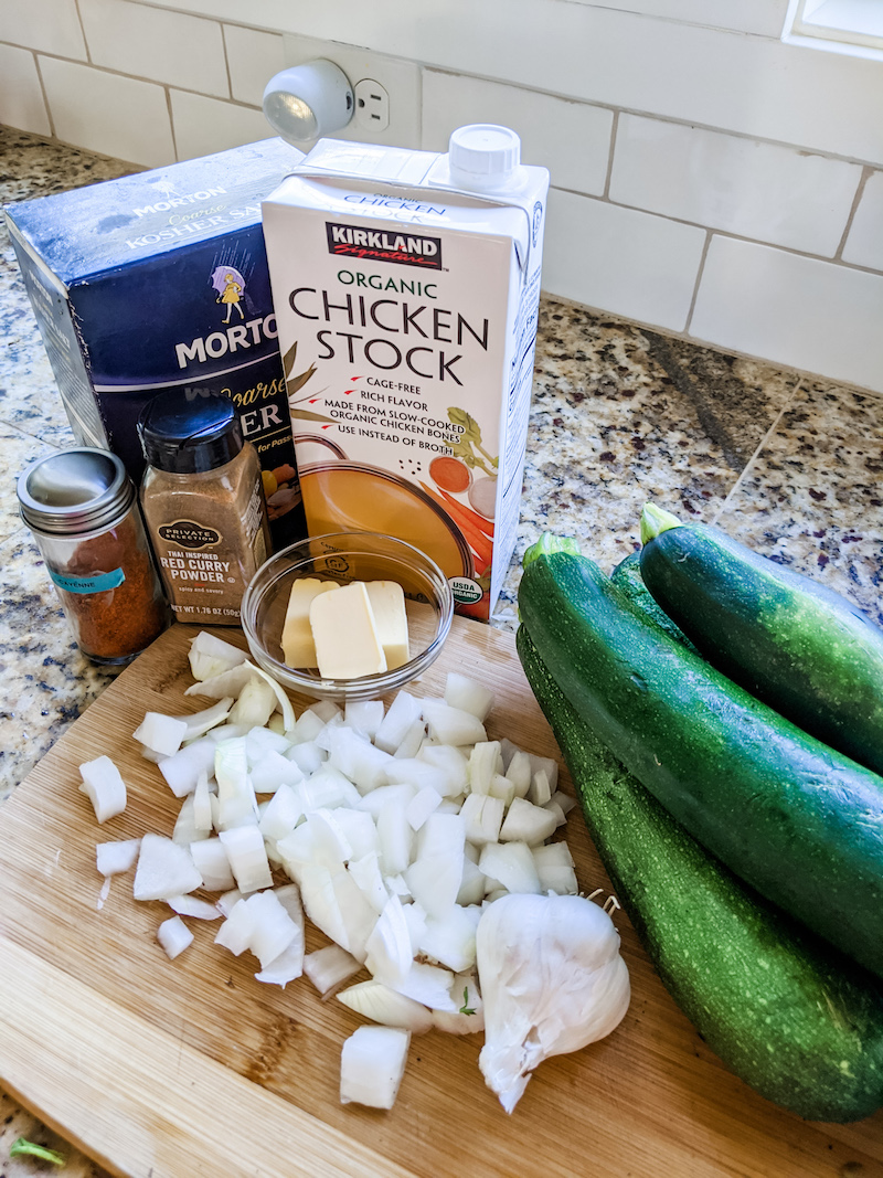 Ingredients for Zucchini soup