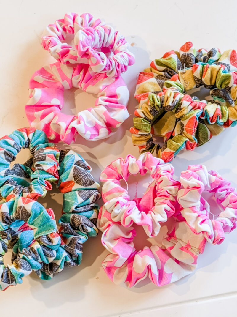 A collection of easy diy scrunchies in various colors