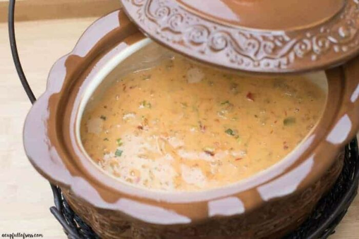 The Nacho Cheese Dip, part of the Crocktober Recipe Rond-Up, still in the crock pot