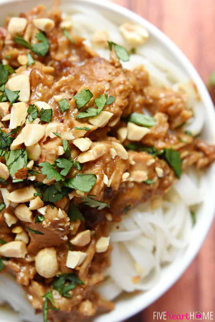 A close up of the thai Crocktober Recipe Round-Up feature, garnished with cilantro and almonds