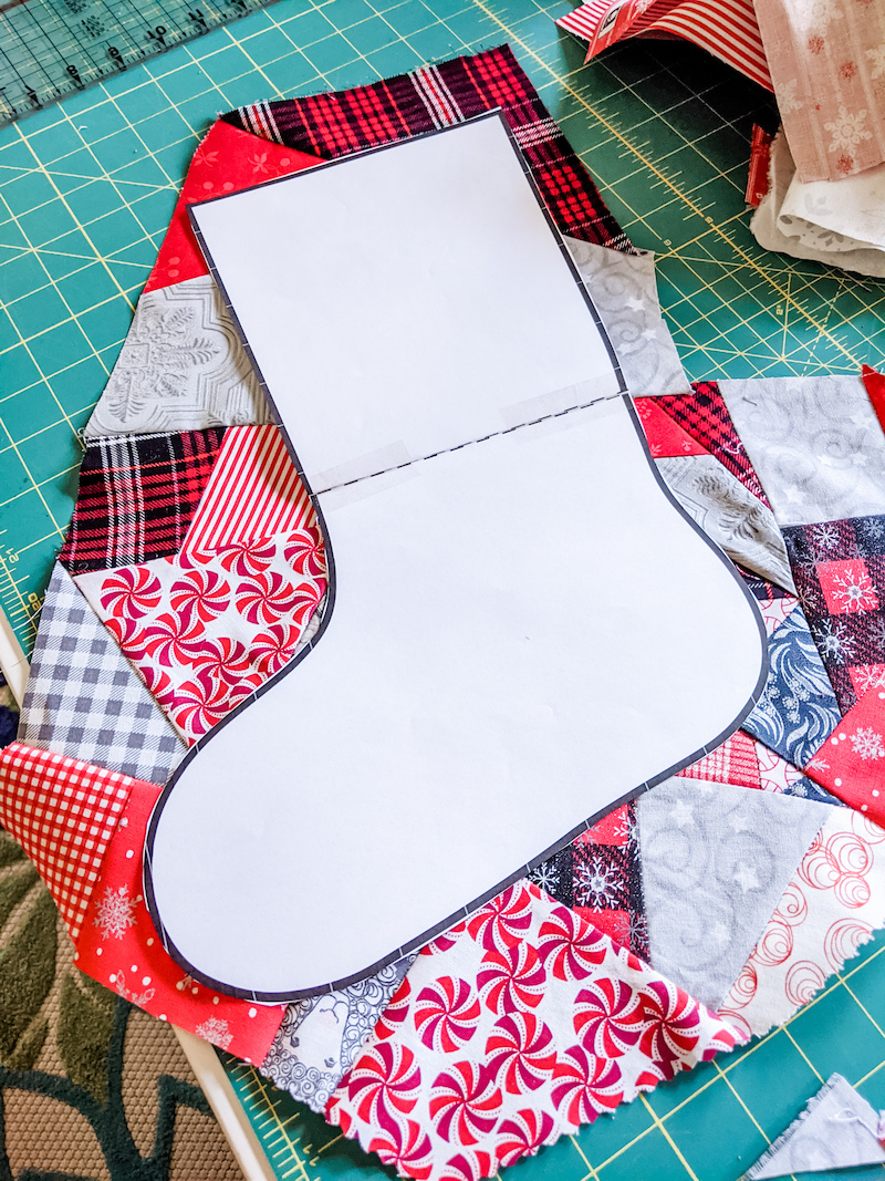 The pattern of the stocking on top of the made fabric.