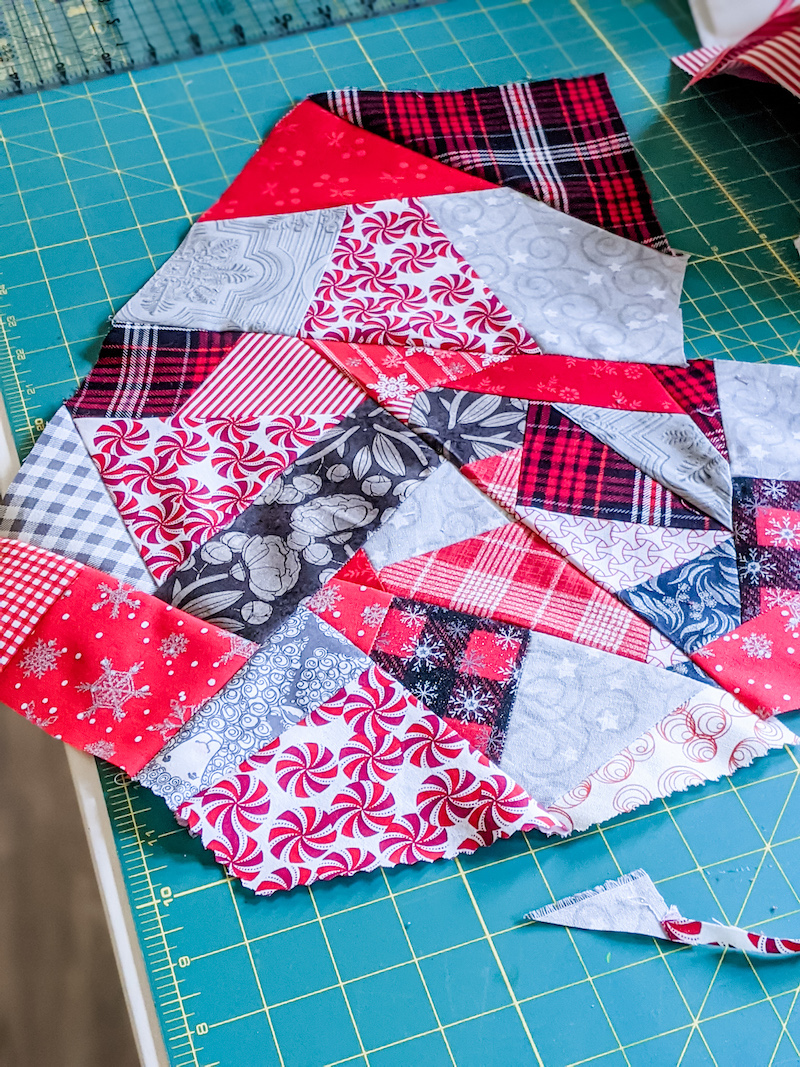 A large, Christmas-themed portion of made fabric.
