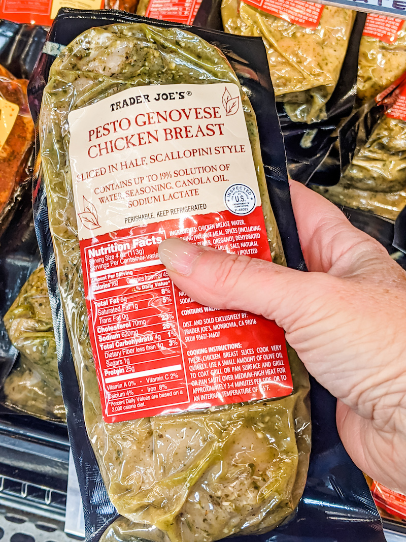 The pesto chicken breast in its packaging