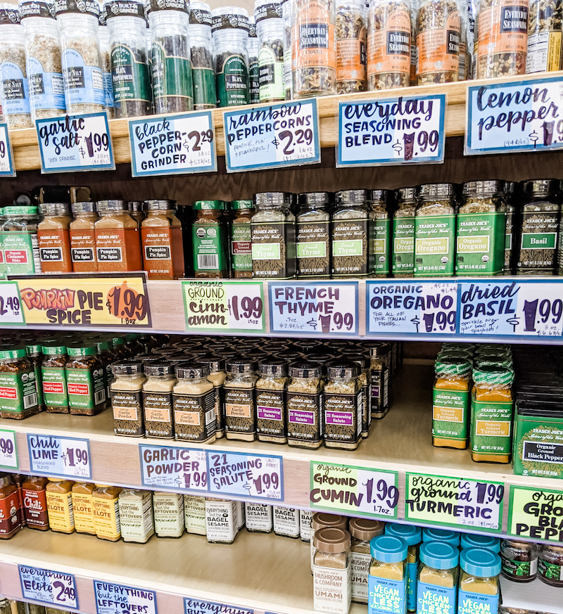 The shelves of Trader Joe's spices
