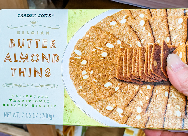 A box of Trader Joe's Butter Almond Thins