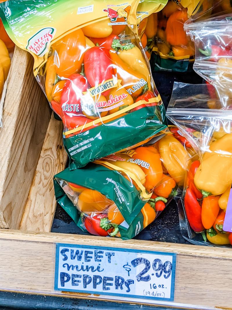 A few bags of Trader Joe's Mini Sweet Peppers