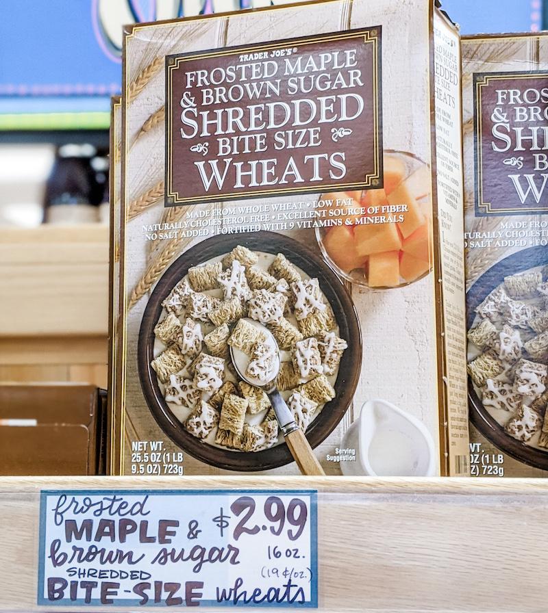 A box of maple mini wheats on a shelf