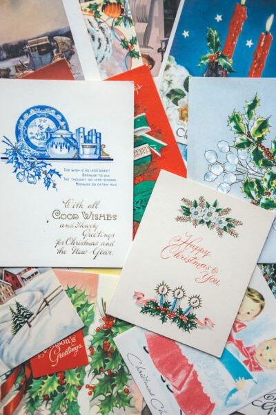 A medley of Christmas cars with different illustrations and messages
