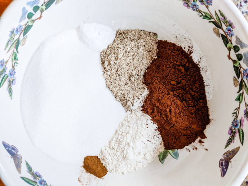 The dry ingredients in a bowl, ready to be mixed.