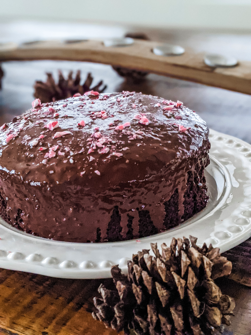Another view of the finished Chocolate Peppermint Beet Cake, surrounded by pinecone decor
