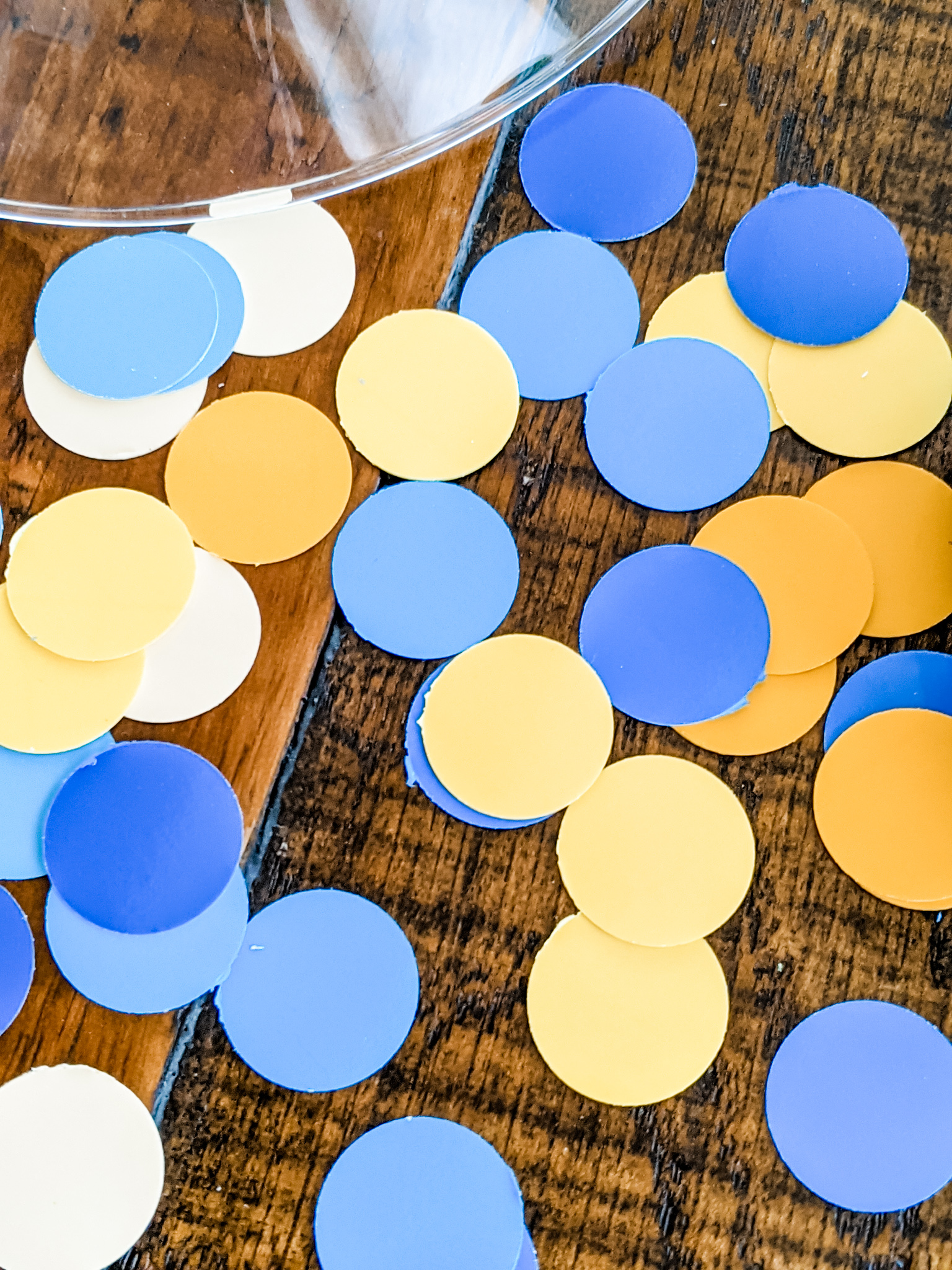 Blue and yellow cut out polka dots