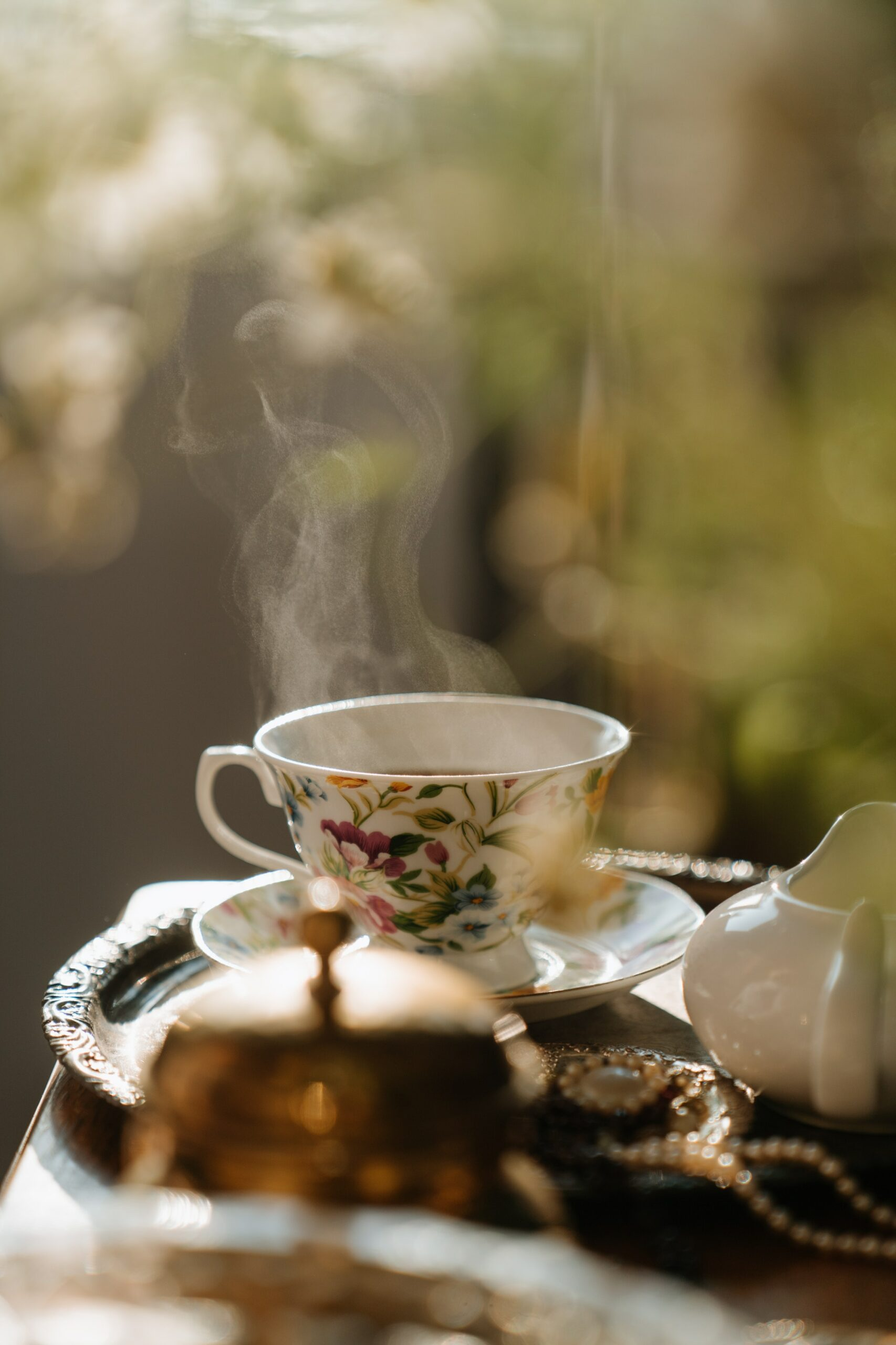 A steaming cup of tea.