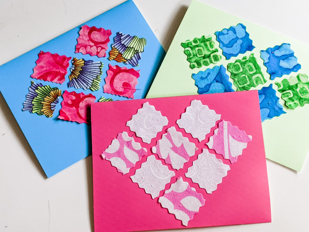 3 fabric heart cards - a Valentine Craft