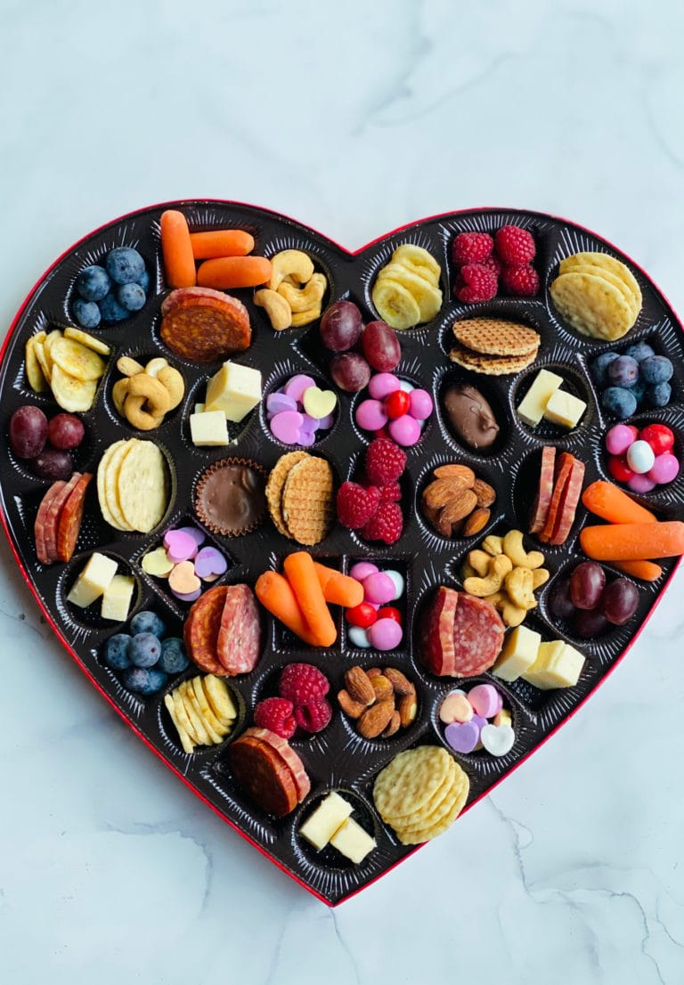 A Valentines themed snack board
