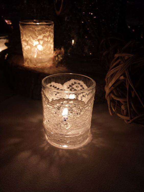 DIY Lattice Lace Candles with a lit flame