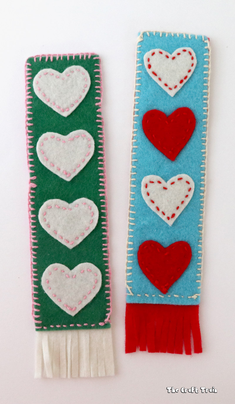 Fabric DIY Bookmarks with hearts cut out