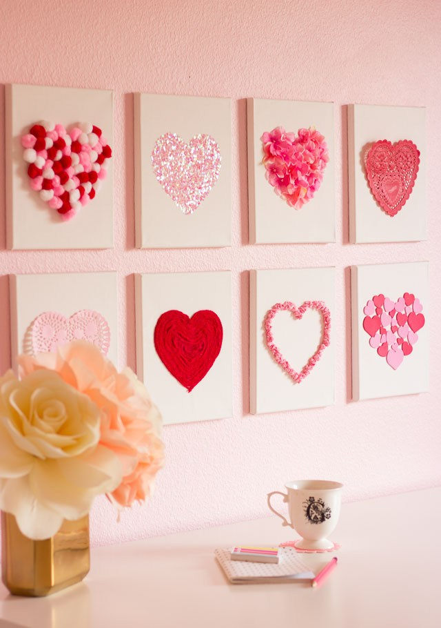 A Valentine Craft - DIY Canvas Hearts