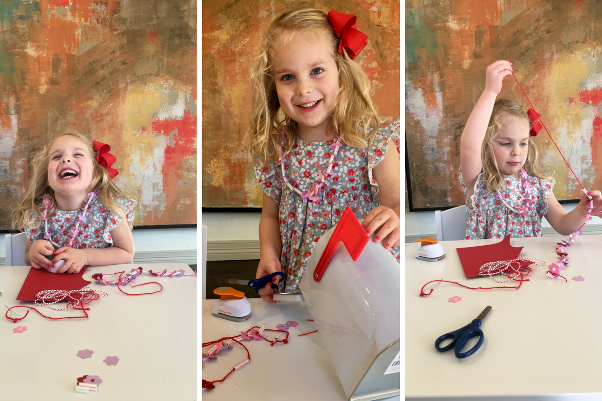 A happy girl in a sequence of photos where she is crafting.
