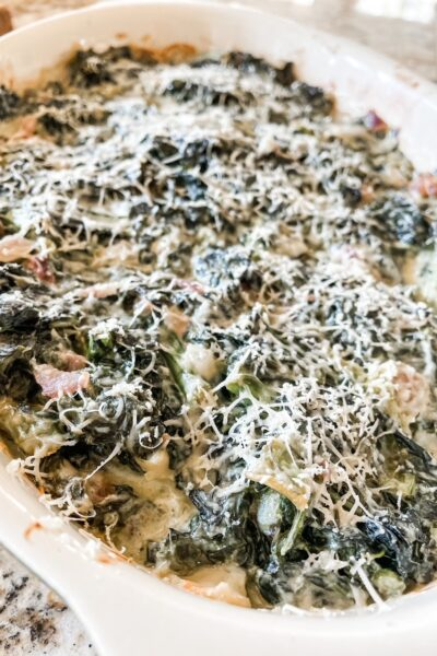 A close up of the finished Creamed Kale Casserole with Parmesan