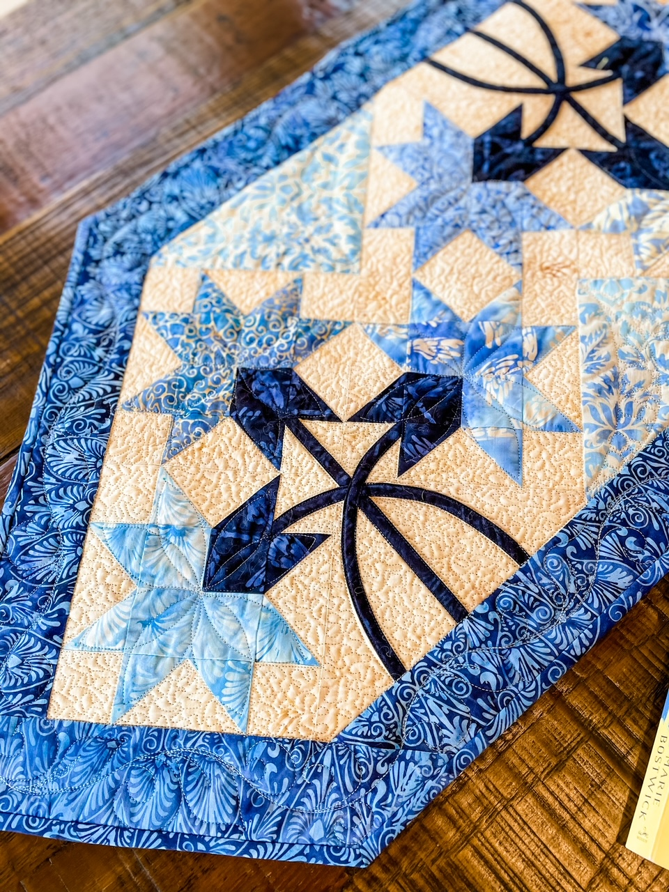 A close up of the table runner.