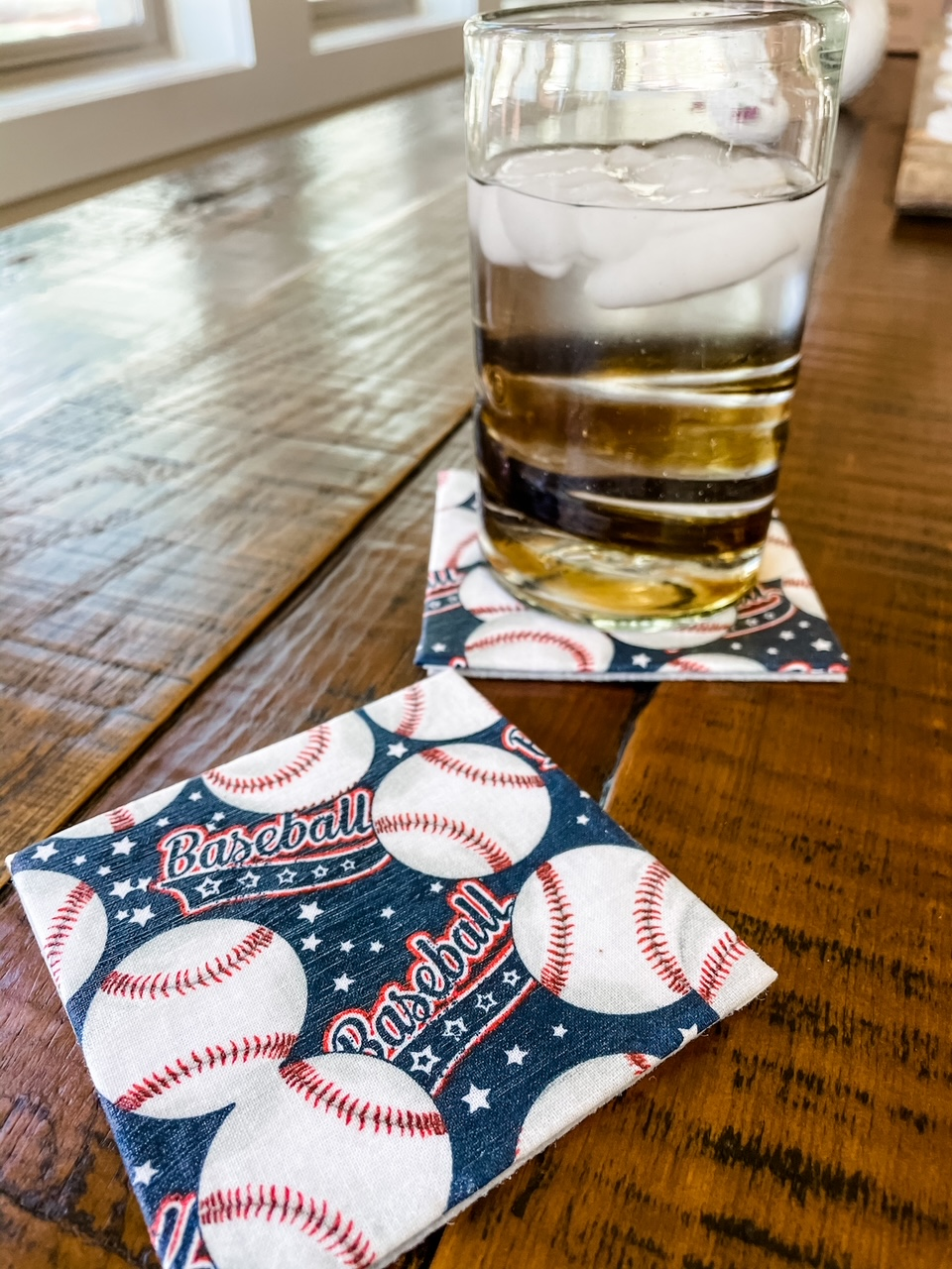 One of the easy no sew craft coasters with baseballs on it
