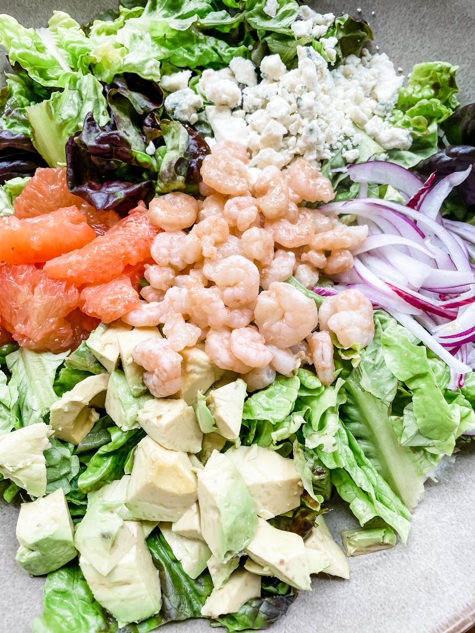 The finished Grapefruit and Gorgonzola Salad with Shrimp