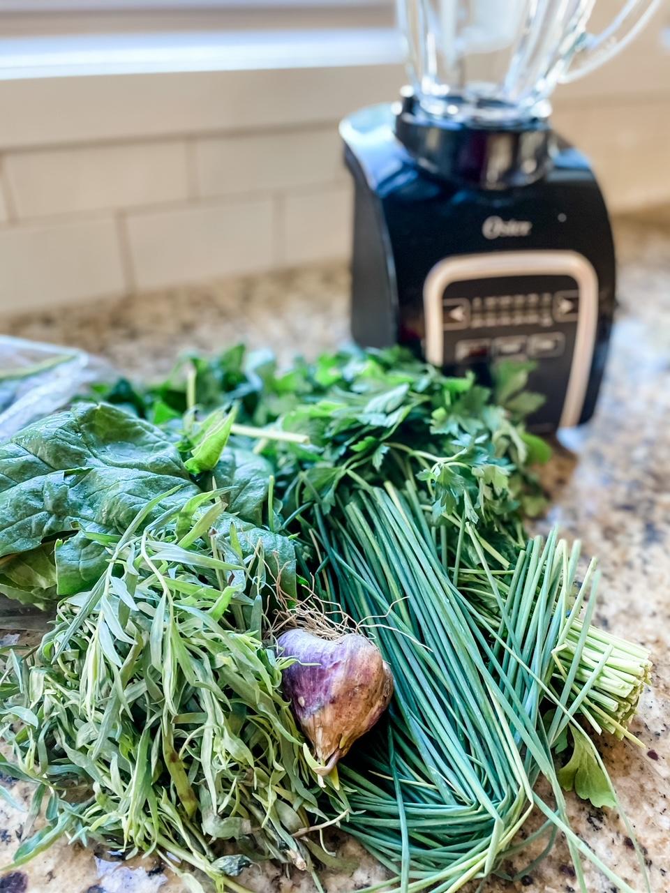 The herbs for the Homemade Green Goddess Salad Dressing, not yet prepped