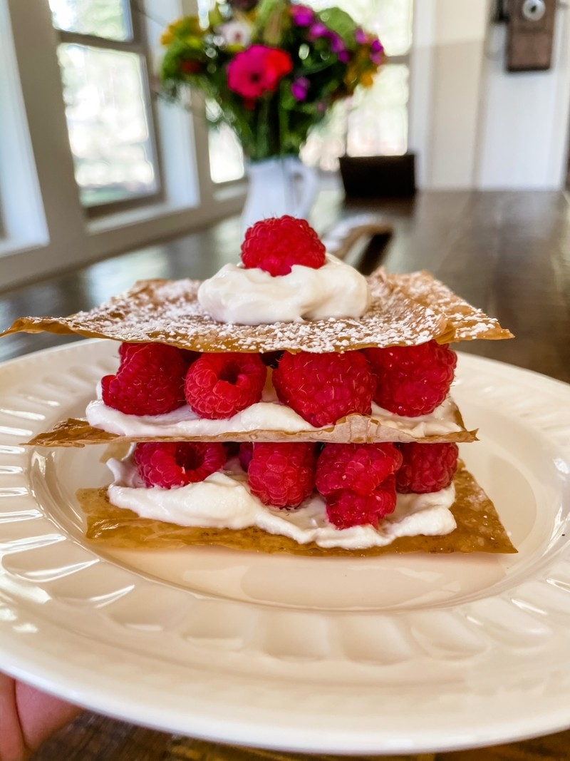 The finished Raspberry Napoleons on a white plate