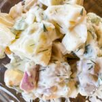 A close up of the yellow potato salad