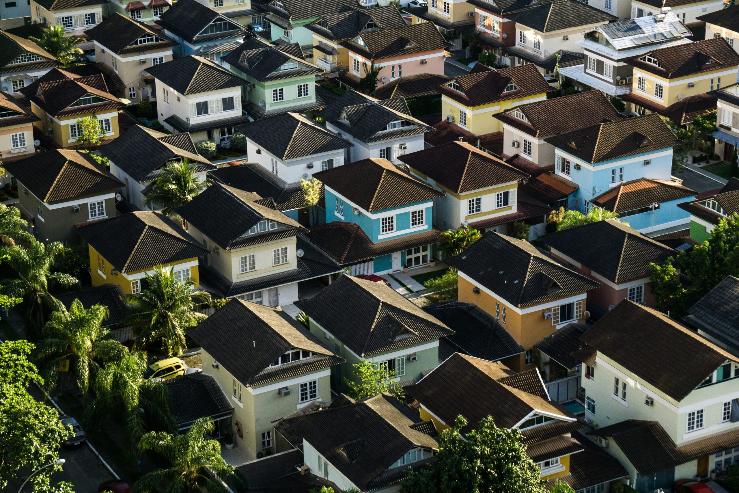 An aerial view of a neighborhood